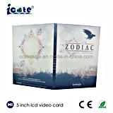 Tarjeta de felicitación video vendedora caliente del LCD de 5 pulgadas/folleto video/librete video para el anuncio, regalo, educación