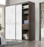 Chambre à coucher Mobilier moderne en bois blanc Ouverture de porte armoire (SZ-WDT002)