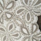 Het witte Marmeren Waterjet van de Bloem van de Tegel van het Mozaïek van de Straal van het Water Mozaïek van het Patroon