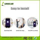 Sonido/voz/bulbo elegante acústico de la luz de bulbo del control LED E27/B22 9W RGB WiFi APP LED