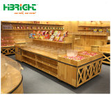 Rack de vegetais de madeira suporte de monitor de frutos para o supermercado