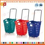 Hohe Kapazitäts-Plastiksupermarkt-Einkaufskorb mit Rädern (ZHB179)