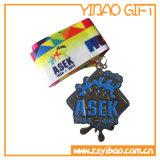 Recuerdos personalizados medalla de plata con cordón de impresión (YB-LY-C-06)
