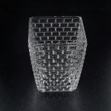 Leistungsfähiger quadratischer Kerze-Behälter mit geprägtem Muster