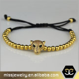 Goldleopard-Charme-Armband, silbernes Raupe-Armband Msbb012