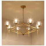 Vidro de latão Bronze moderno luz candelabro de cobre