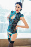 Sexy белье женщин кружева переливчатый вышивка Cheongsam эротического белья Sexy Hot полой Backless Sexi женщина Женское нижнее бельё+чулки