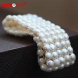 5 filas de la moneda elástica verdadera perla joyas pulsera para dama