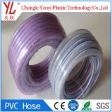 Venta caliente trenzado fibra transparente flexible de la manguera de PVC transparente