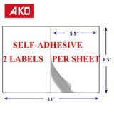 Excellentes étiquettes de la feuille 2 de collants de papier thermosensible de qualité par étiquettes d'expédition de feuille
