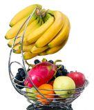 バナナのハンガーが付いているクロム金属の果物かご