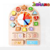 Geometrics de madeira cronometra os blocos que aprendem cedo brinquedos do enigma da instrução do bebê