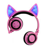 Luz de LED de orelha a orelha de gato estéreo sem fio Bluetooth Música para fone de ouvido
