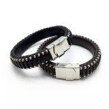 Form-kühler handgemachter echtes Leder-Armband-Edelstahl-Haken