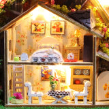 2017 Puzzle juguete de madera casa de muñecas DIY con la caja de hierro
