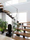 Bom cabo de Inox do preço que cerc a escadaria reta de madeira para projetos residenciais