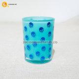 Vaso coloreado único del vidrio modelado con la tapa