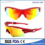 Erschwingliche Verordnung-Sport-Verpackung um rote Sonnenbrillen