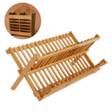Держатель из бамбука подставки пластины сушки древесины на кухне для хранения прибора блюдо Drainer Bh-4001 для монтажа в стойку