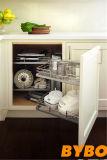 Подгонянная мебель кухни самомоднейшего белого высокого лоснистого лака деревянная оптовая (BY-L-158)