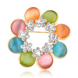 Multi-Color Cat's Eye flor de cristal de la mujer broche coreano