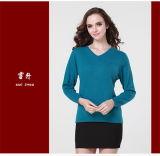 女の子のヤクのウールまたはカシミヤ織Vの首のプルオーバーのセーターか衣服または衣服またはニットウェア