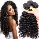 Qualidade superior onda profunda trama de cabelo humano Brasileiro