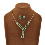 Chapado en oro amarillo verde Zircon Nuevo conjunto de joyas de diseño