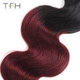 Pre-Coloedボディ波の人間の毛髪のOmber卸し売りカラー1b/99jバーガンディ赤いブラジルのRemy 2つの音色の毛の拡張束(TFH18)