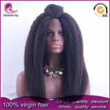 Kinky recto/Yaki virgen de Malasia frente cabello peluca de encaje