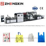Máquina de fabricação de sacos planos não tecidos de alta velocidade com alça em linha Anexando Zxl-D700 (4 em 1)