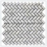 China White Carrara White Fan / Round Marble Pattern Mosaic