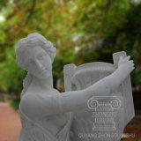 POT di marmo della holding della statua della figura femminile con qualità eccellente per la decorazione del giardino