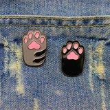 Divisa linda de la pata del gato del perro de la historieta del esmalte para la ropa