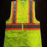 Veste da segurança com tela e engranzamento de confeção de malhas reflexivos da faixa 100%Polyester do cuidado