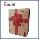 Bolsa de papel impresa del regalo de las compras de la flor del brillo del papel de Brown Kraft
