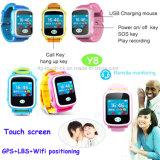 Teléfono elegante del reloj del perseguidor del GPS de los cabritos Mtk2503 con la pantalla táctil colorida