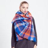 Azul e laranja verificado lenço de lã
