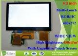 4.3 polegadas Monitor LCD de ecrã táctil capacitivo área activa 34.85 * 43.56mm