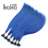 Het blauwe Menselijke Haar van de Keratine van het Uiteinde van U van 20 Duim