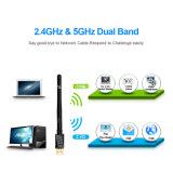 802.11n/G/Bアンテナ無線ネットワークLANカード802.11A/G/N/ACが付いているデュアルバンドの無線電信USB WiFiのDongleのアダプター、