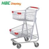 Amerikanische Supermarkt-Doppelt-Korb-Einkaufswagen-Laufkatze