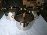 De 0,7 mm de espesor del Cuerpo de acero inoxidable de alta Stock Pot 201 Material con cubierta de la ss cocina de inducción disponibles