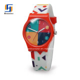 Pattern PrintingのGirlsのための豪華なStyle Quartz Movement Promotional Gift Watch