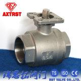 CF8m/type de CF8 2PC a vissé le robinet à tournant sphérique avec le support de fixation ISO5211