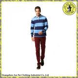 高品質の綿の長い袖の人のためのカスタムしまのあるポロシャツ