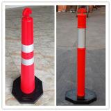 Cones de segurança de tráfego rodoviário de PVC flexível e fluorescente