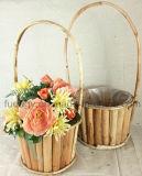 Круглый естественный Handmade деревянный бак сада с ручкой