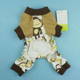 Vêtements adorables d'animal familier de chemise de pyjamas de crabot de singe de coton mou
