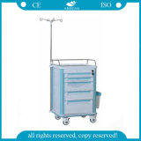 AG-It004A1 avec le chariot en plastique économique à tiroir d'hôpital de cinq tiroirs